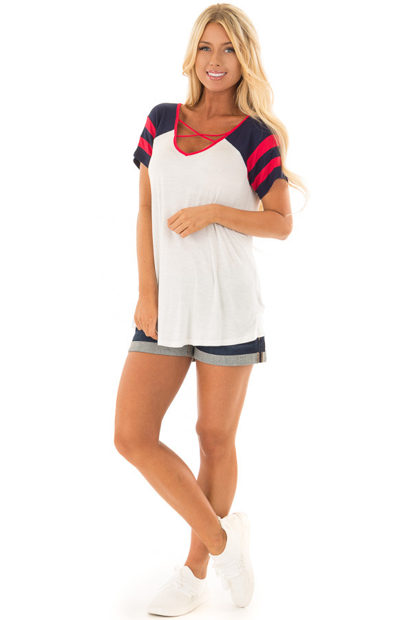 Ivory Crimson and Navy Tee Shirt with Criss Cross Neckline front full body