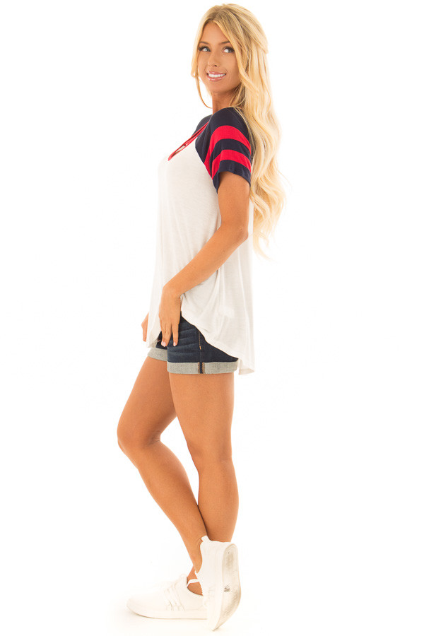 Ivory Crimson and Navy Tee Shirt with Criss Cross Neckline side full body