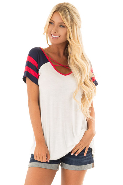 Ivory Crimson and Navy Tee Shirt with Criss Cross Neckline front close up