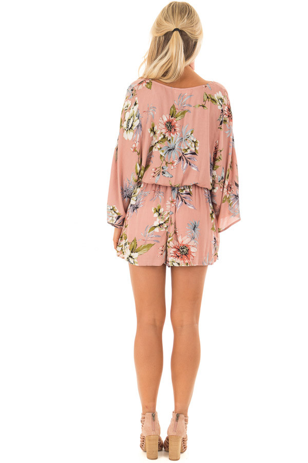 Dusty Pink Floral Print Romper with Bell Sleeves back full body