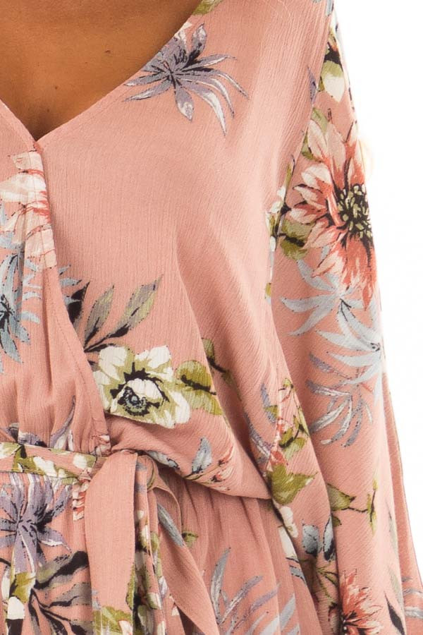 Dusty Pink Floral Print Romper with Bell Sleeves detail