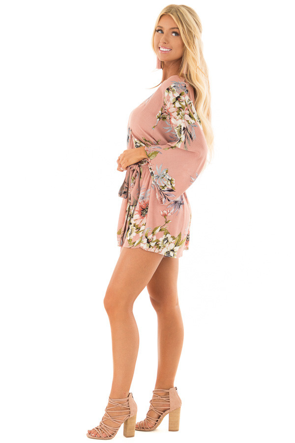Dusty Pink Floral Print Romper with Bell Sleeves side full body