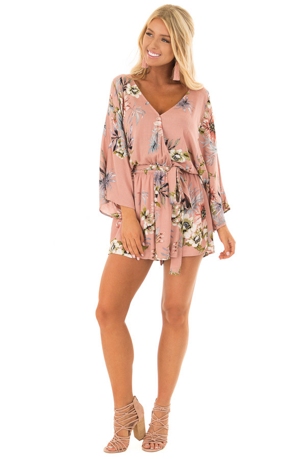 Dusty Pink Floral Print Romper with Bell Sleeves front full body