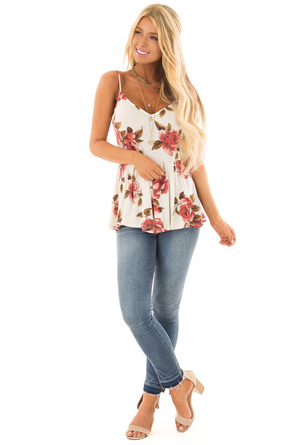 Cream Floral Print Peplum Tank Top front full body