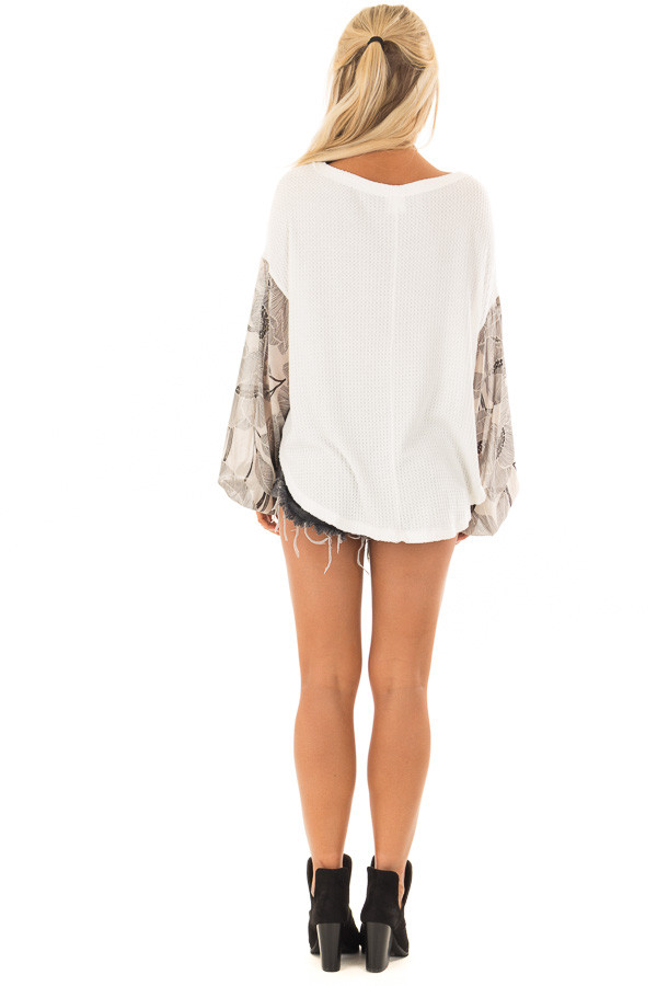 Ivory Waffle Knit Top with Flowy Black Floral Print Sleeves back full body
