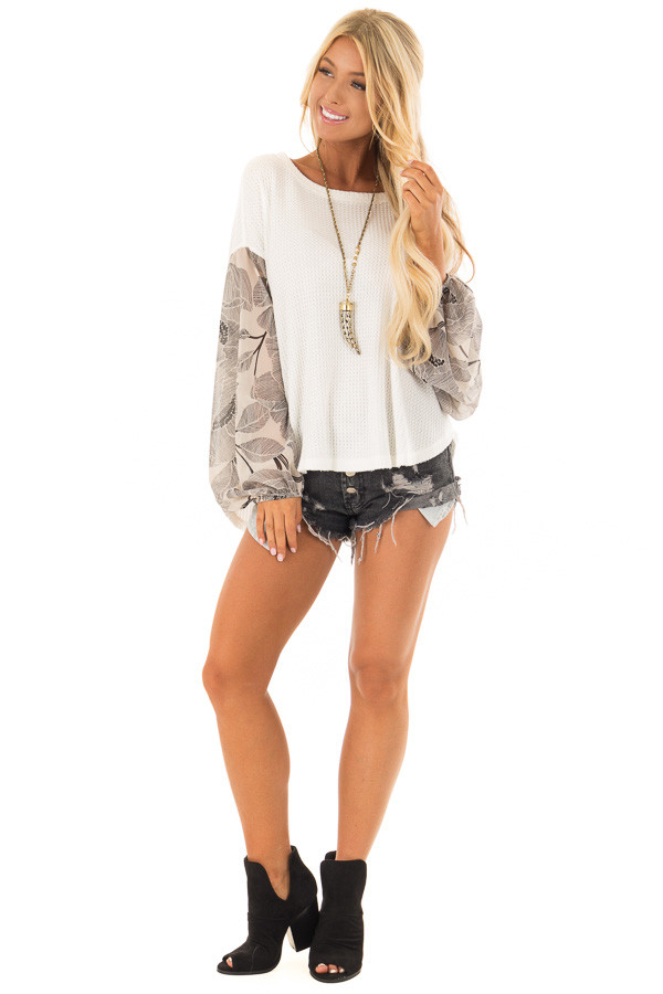 Ivory Waffle Knit Top with Flowy Black Floral Print Sleeves front full body