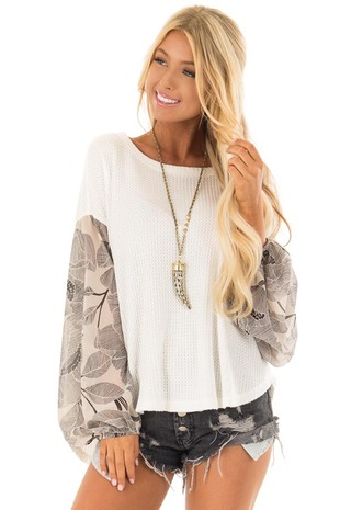 Ivory Waffle Knit Top with Flowy Black Floral Print Sleeves front close up