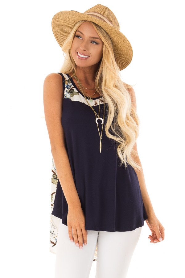 Navy Tank Top with Ivory Floral Print Contrast front close up