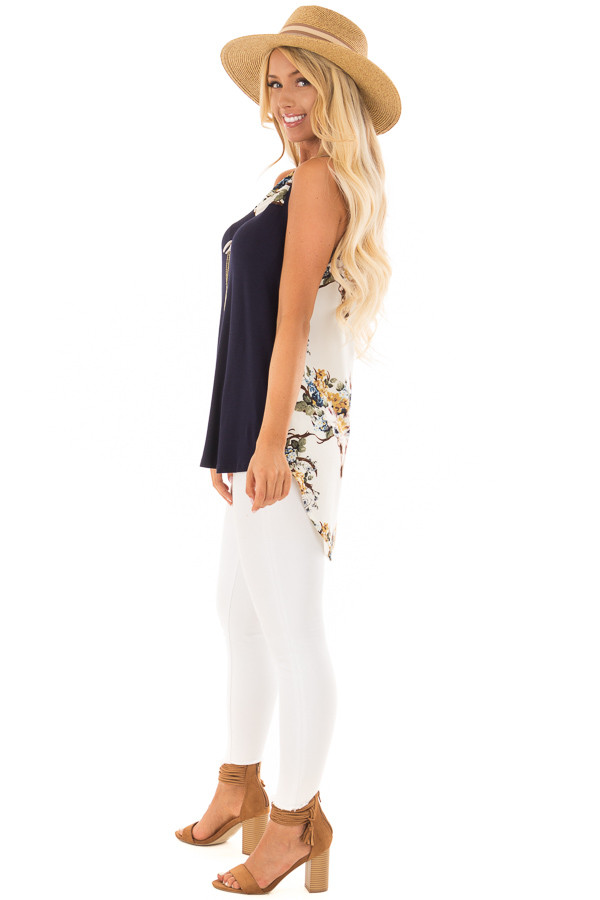 Navy Tank Top with Ivory Floral Print Contrast side full body