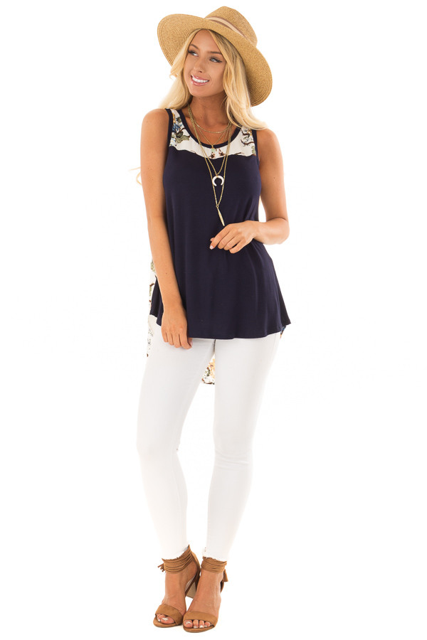 Navy Tank Top with Ivory Floral Print Contrast front full body