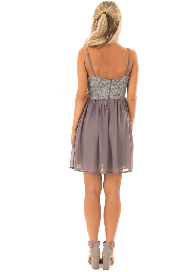 Charcoal Grey Sleeveless Dress with Lace Detail back full body