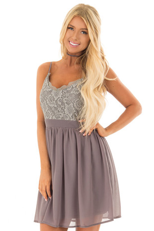 Charcoal Grey Sleeveless Dress with Lace Detail front close up