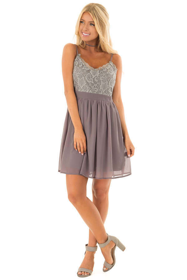 Charcoal Grey Sleeveless Dress with Lace Detail front full body