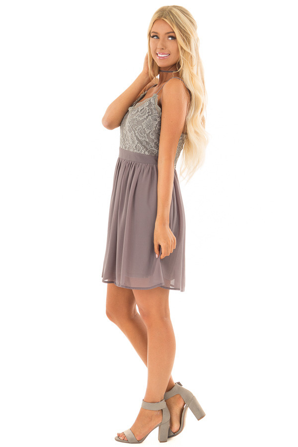 Charcoal Grey Sleeveless Dress with Lace Detail side full body