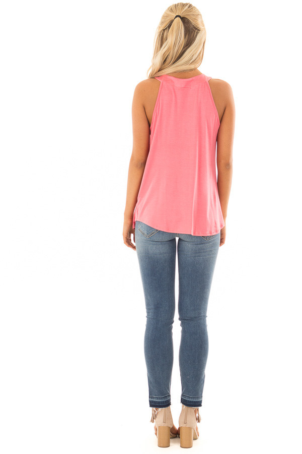 Coral High Neck Tank Top with Pleated Neckline back full body