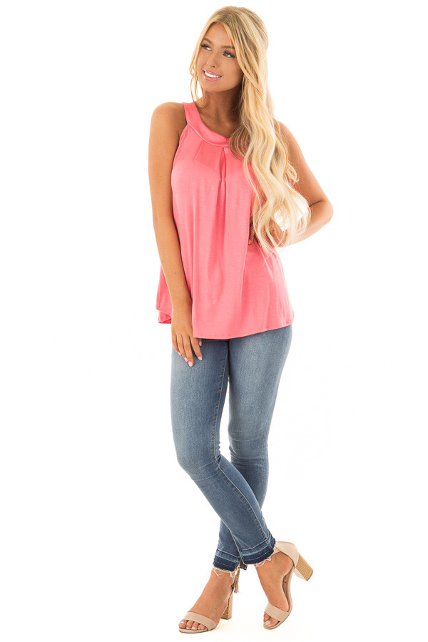 Coral High Neck Tank Top with Pleated Neckline front full body