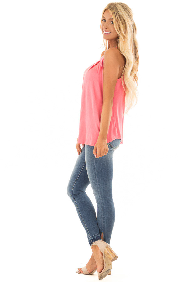 Coral High Neck Tank Top with Pleated Neckline side full body