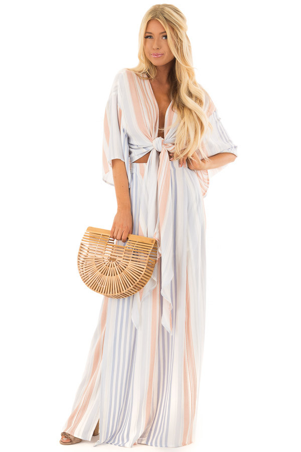 Coral and Denim Blue Striped Two Piece Set front full body