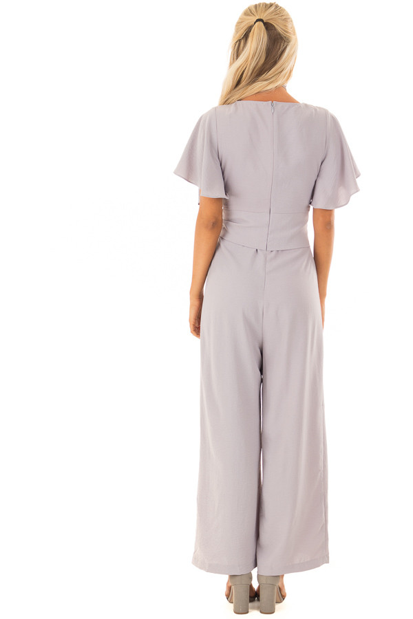 Heather Grey Jumpsuit with Butterfly Sleeves and Waist Tie back full body