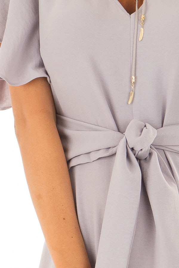 Heather Grey Jumpsuit with Butterfly Sleeves and Waist Tie detail