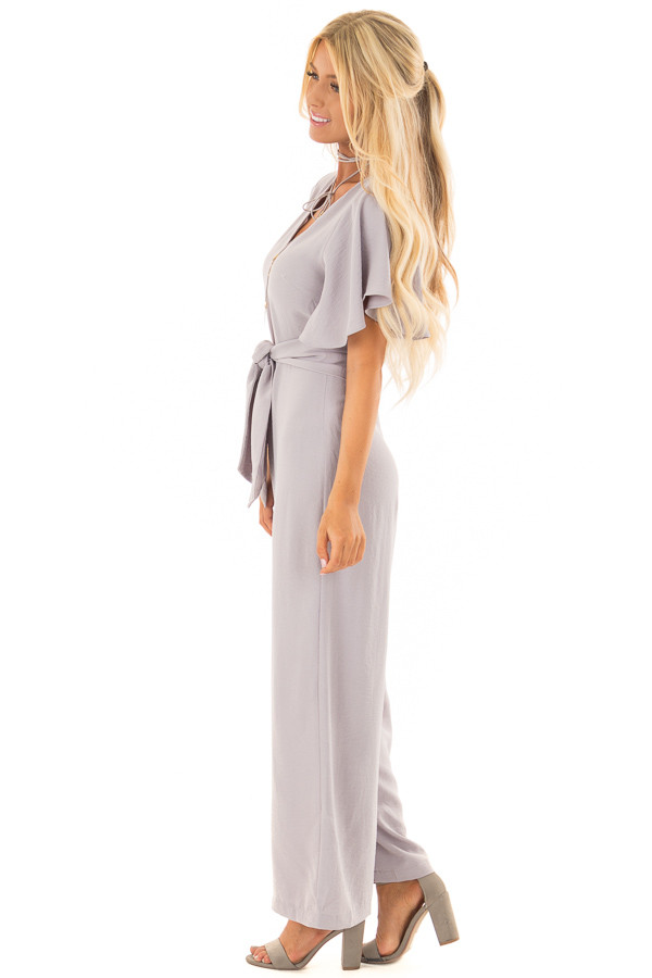 Heather Grey Jumpsuit with Butterfly Sleeves and Waist Tie side full body
