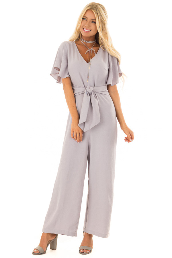 Heather Grey Jumpsuit with Butterfly Sleeves and Waist Tie front full body
