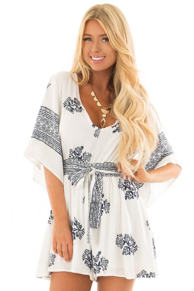 White and Navy Floral Print Romper with Front Tie Detail front close up