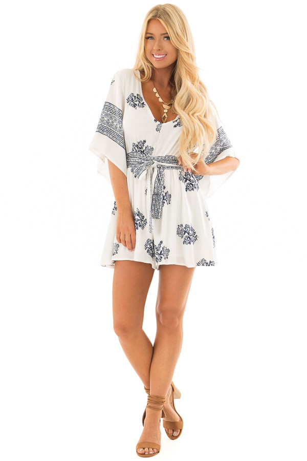 White and Navy Floral Print Romper with Front Tie Detail front full body