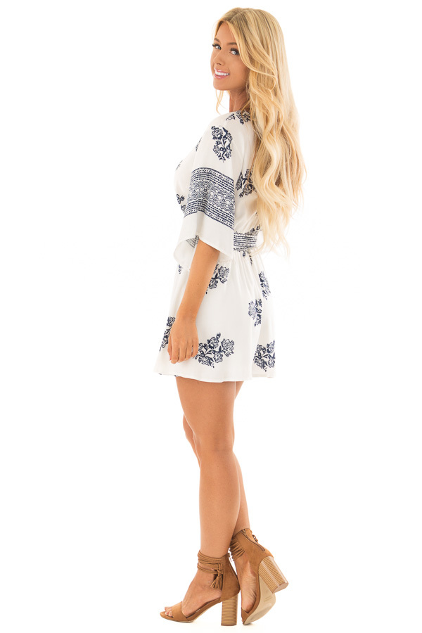 White and Navy Floral Print Romper with Front Tie Detail side full body