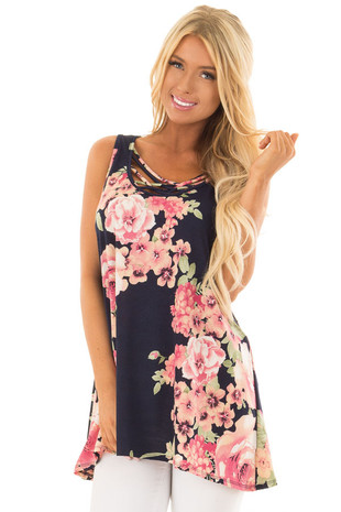 Navy Floral Tunic Tank with Caged Neckline Detail front close up