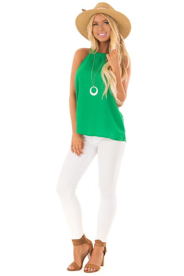 Emerald High Neck Tank Top front full body