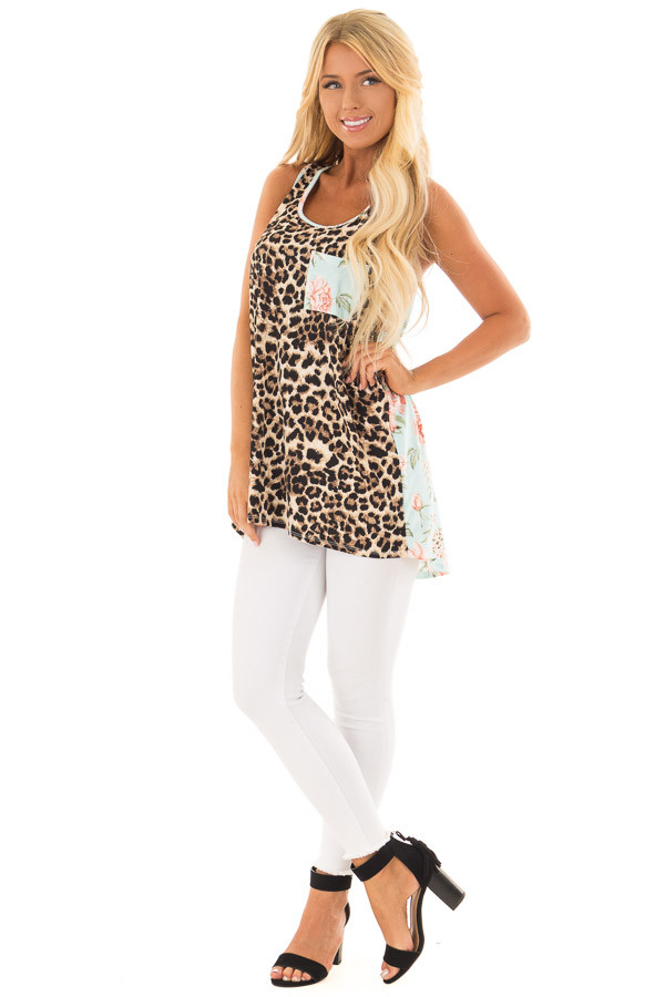 Leopard Print Tank Top With Floral Print Back Detail front full body