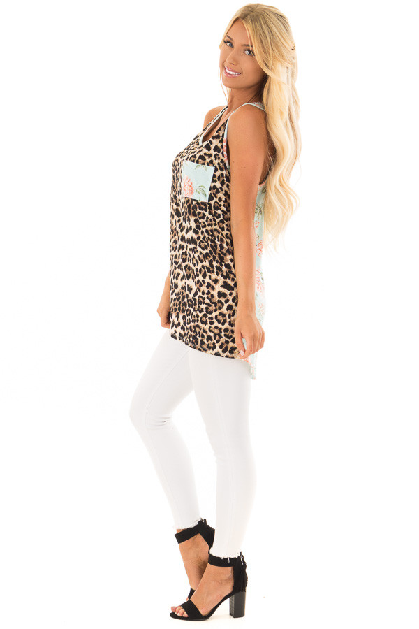Leopard Print Tank Top With Floral Print Back Detail side full body