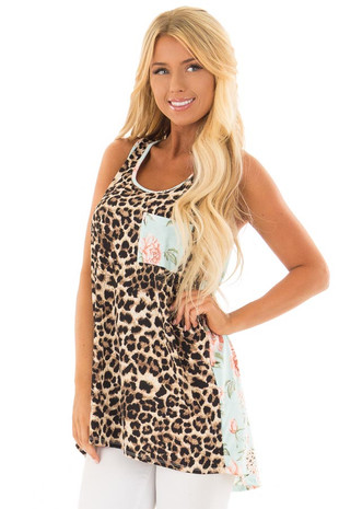 Leopard Print Tank Top With Floral Print Back Detail front close up