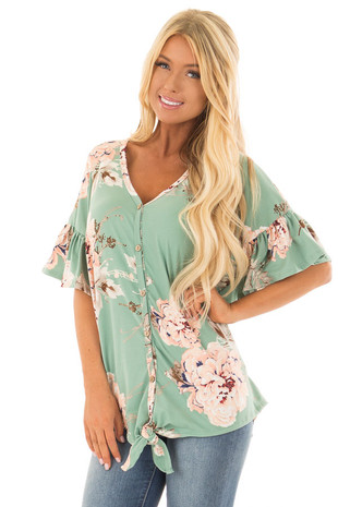 Mint Floral Button Up Top with Ruffle Sleeve front close up