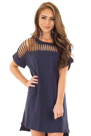 Navy Short Sleeve Dress with Slashed Yoke front close up