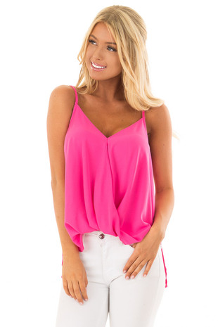 Strawberry V Neck Tank Top with Front Twist Detail front close up