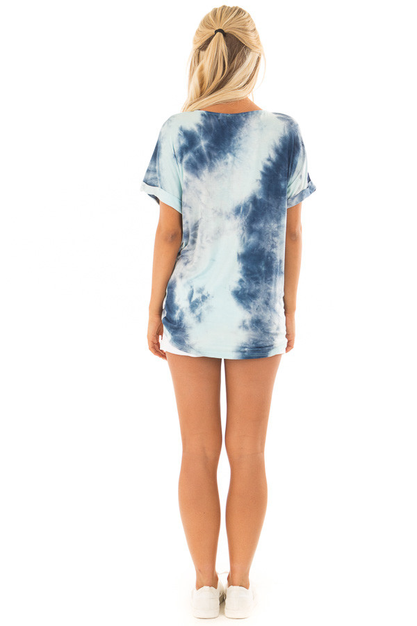 Navy and Mint Tie Dye Tee Shirt with Front Knot Detail back full body