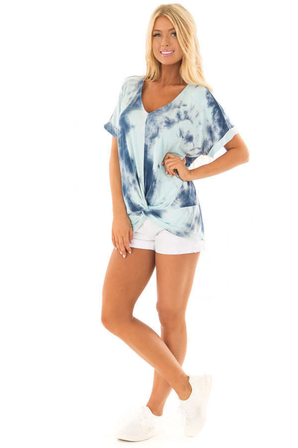 Navy and Mint Tie Dye Tee Shirt with Front Knot Detail front full body