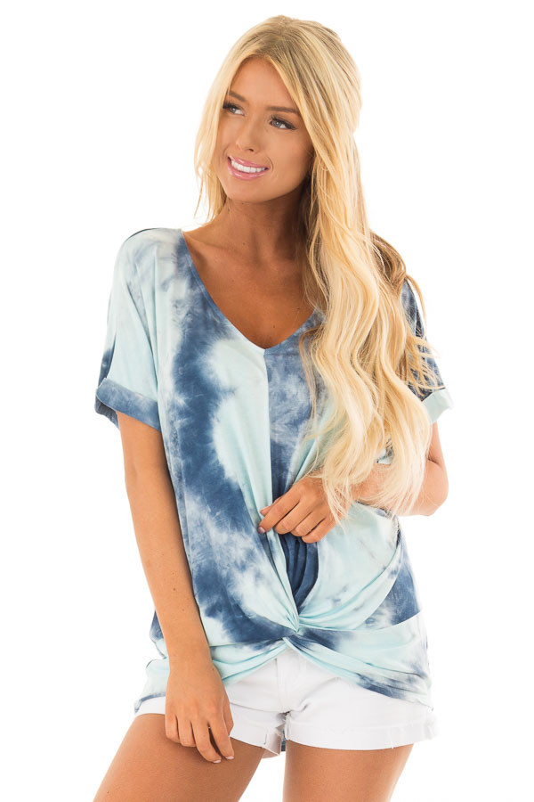 Navy and Mint Tie Dye Tee Shirt with Front Knot Detail front close up