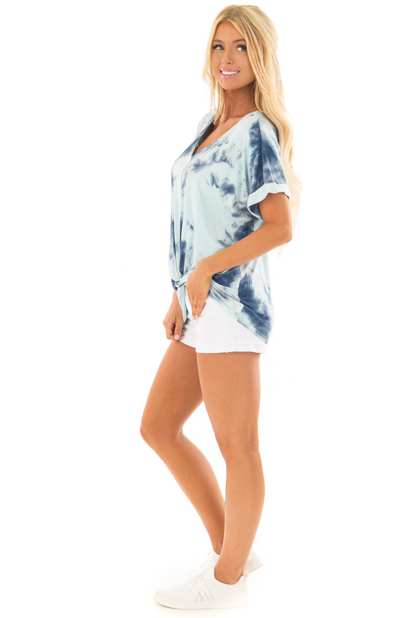Navy and Mint Tie Dye Tee Shirt with Front Knot Detail side full body
