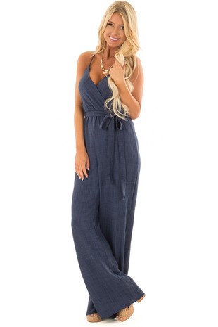 Navy Wide Leg Jumpsuit with Waist Tie front full body