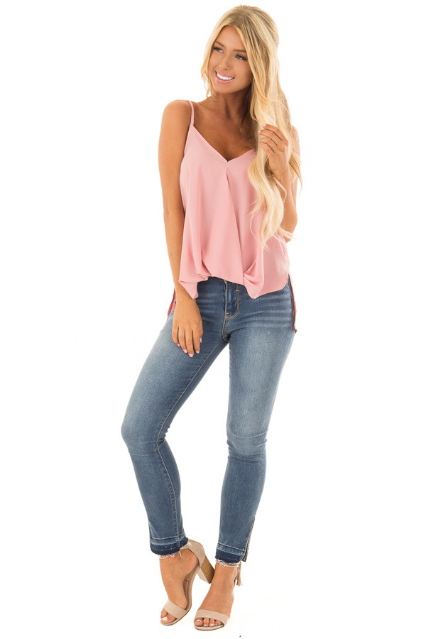 Blush Pink V Neck Tank Top with Front Twist Detail front full body