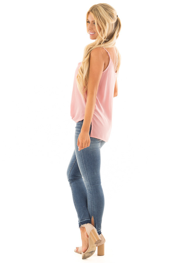 Blush Pink V Neck Tank Top with Front Twist Detail side full body