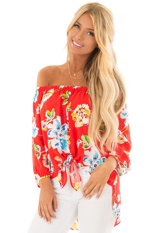 Candy Red Off Shoulder Floral Top with Front Tie Detail front close up