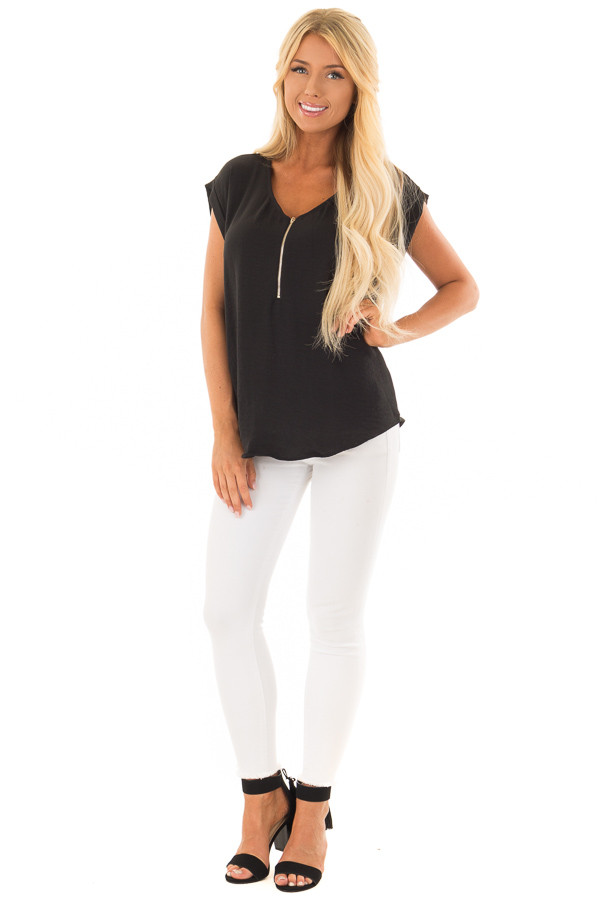 Black Cap Sleeve Blouse with Gold Zipper Neckline front full body