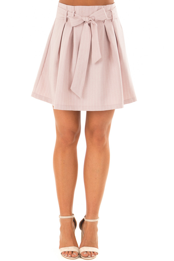 Misty Pink Pinstripe Skirt with Waist Tie front view