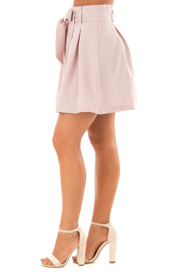 Misty Pink Pinstripe Skirt with Waist Tie side view