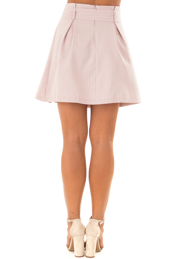 Misty Pink Pinstripe Skirt with Waist Tie back view