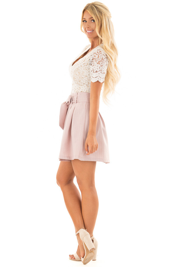 Misty Pink Pinstripe Skirt with Waist Tie side full body